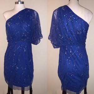 Adrianna Papell Evening one shoulder sequin dress